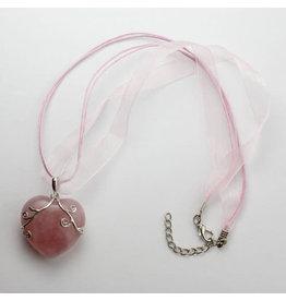 Pendant Rose Quartz Heart