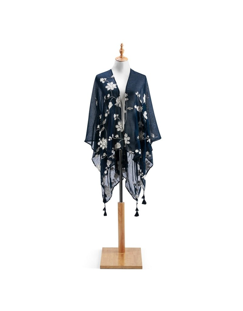 Black W/ White Embroidered Duster