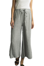 Beige Wide Leg Linen Pants