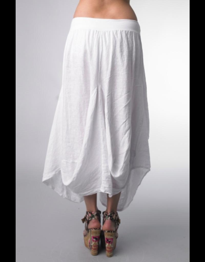 White Linen Skirt Medium
