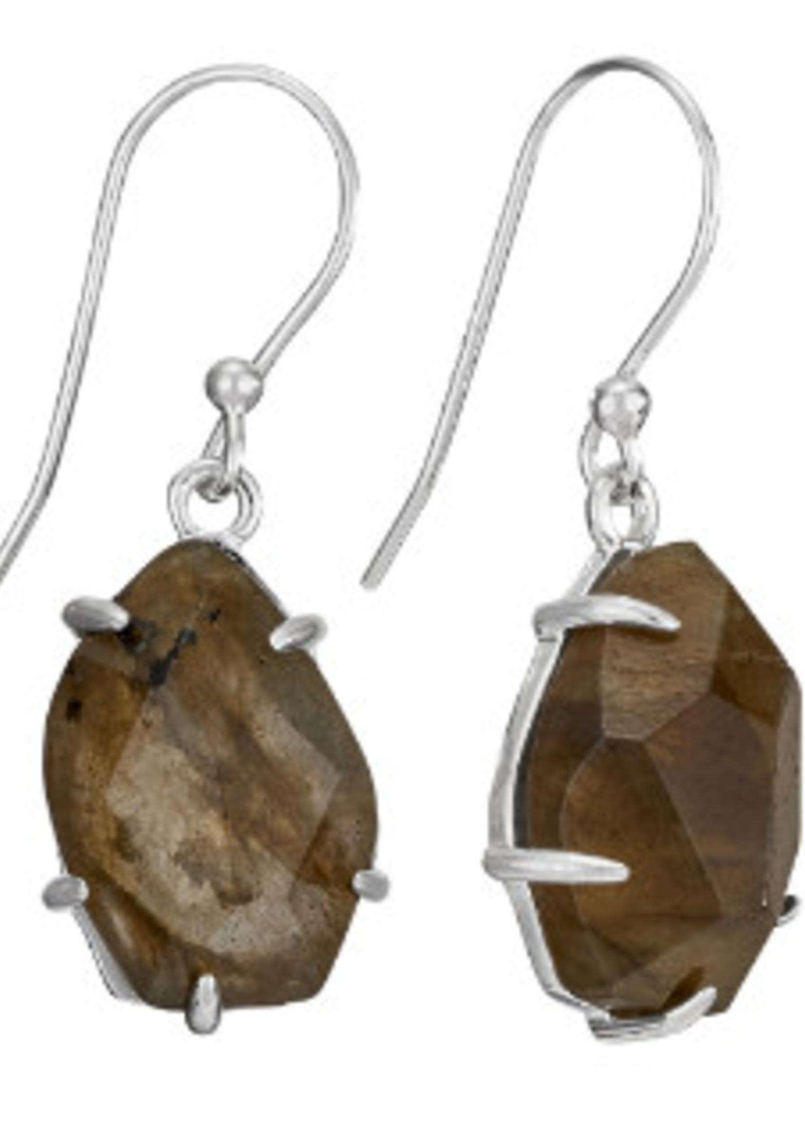 Earrings Labradorite Facet Chunk