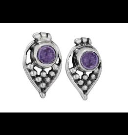 Earrings Amethyst Rnd Cab Paisley Dot Stud
