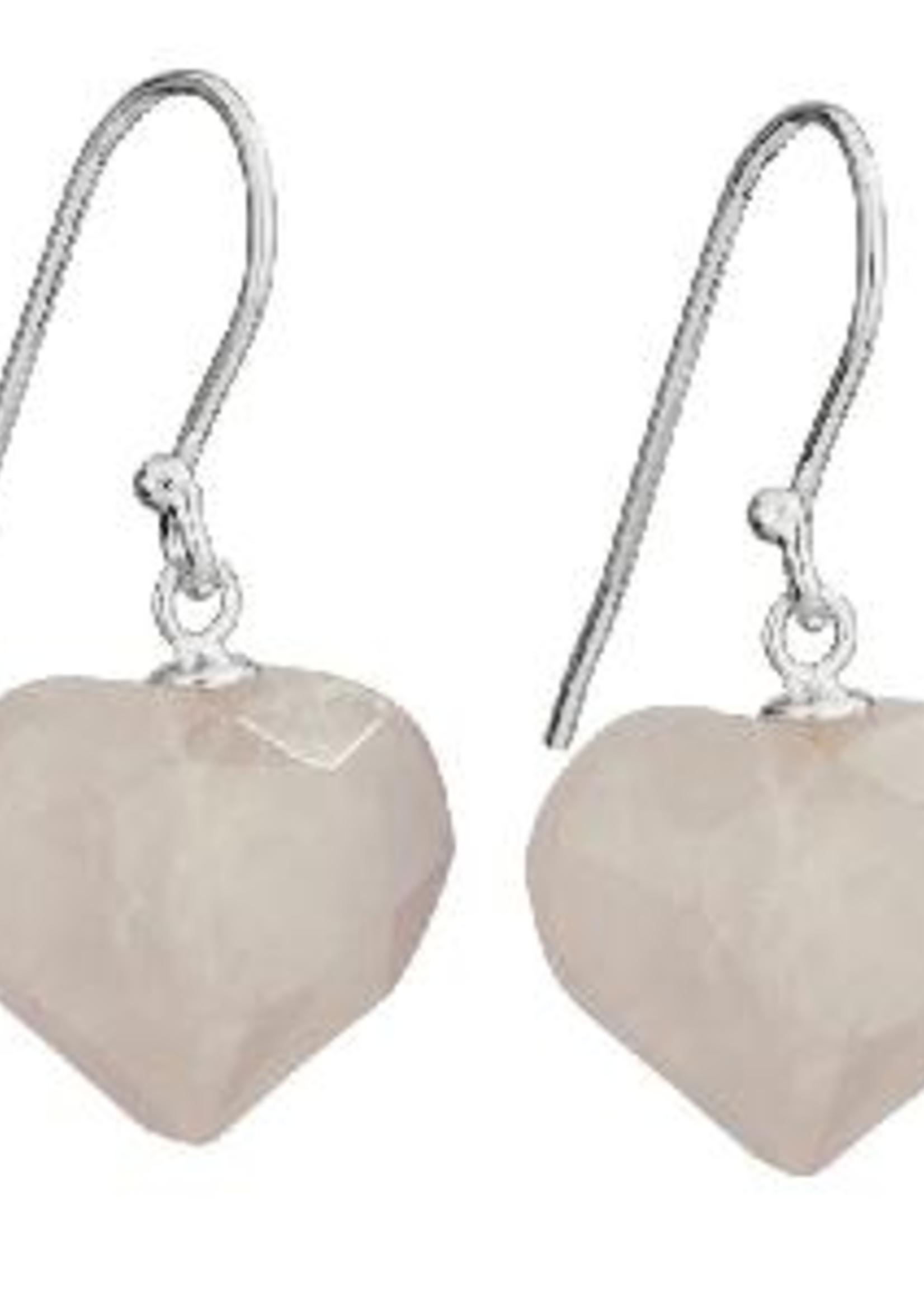 Earrings Rose Qtz Heart