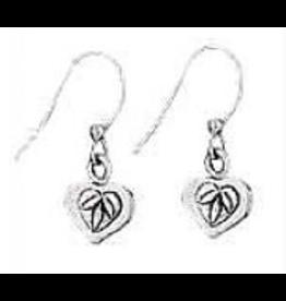 Earrings Heart w Leaves Lng Hook