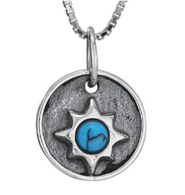 Necklace Turquoise Sunburst Pendant SS
