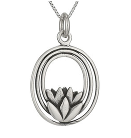 Necklace SS Lotus In Oval