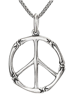 Necklace Bamboo Peace Sign Pendant