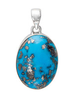 Pendant Natural Persian Turq Oval Cab w Pyrite Inclusions