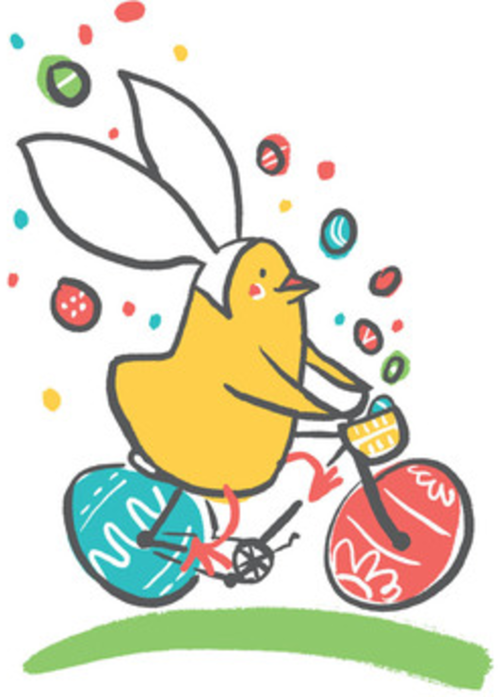 Card EASTER Chick on Bike