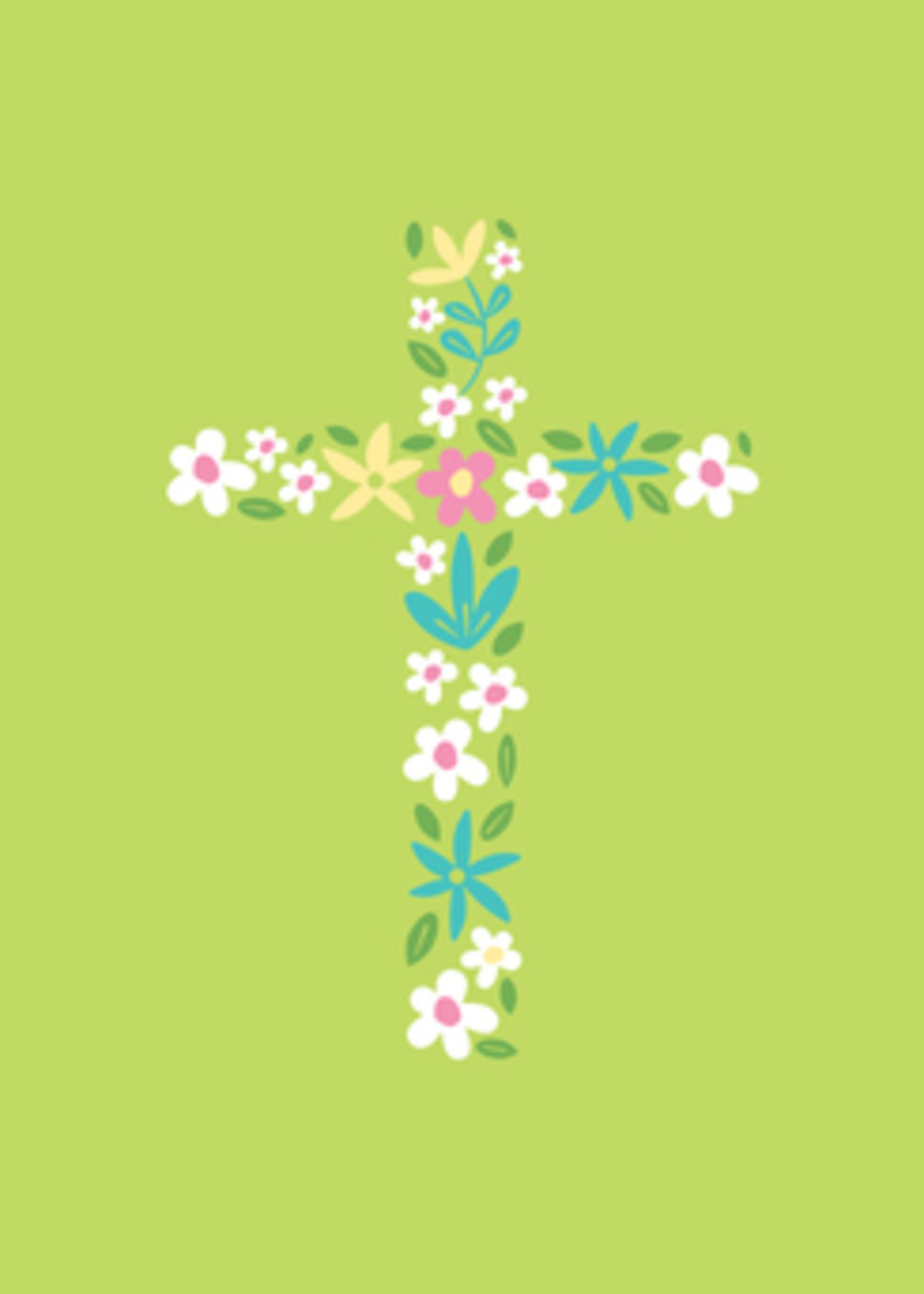 Card EASTER Flower Cross on Lime Grn