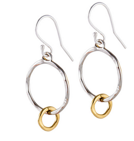 Earrings 2 Circles SS & Gold Plated
