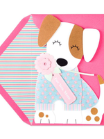 Papyrus Mother's Day card - Puppy Dog in Real Clothes With Flower For You Mom