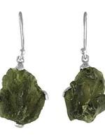 Earrings Moldavite SS Natural Dangle XL