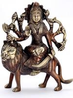Statue Brass Durga Sitting on Lion