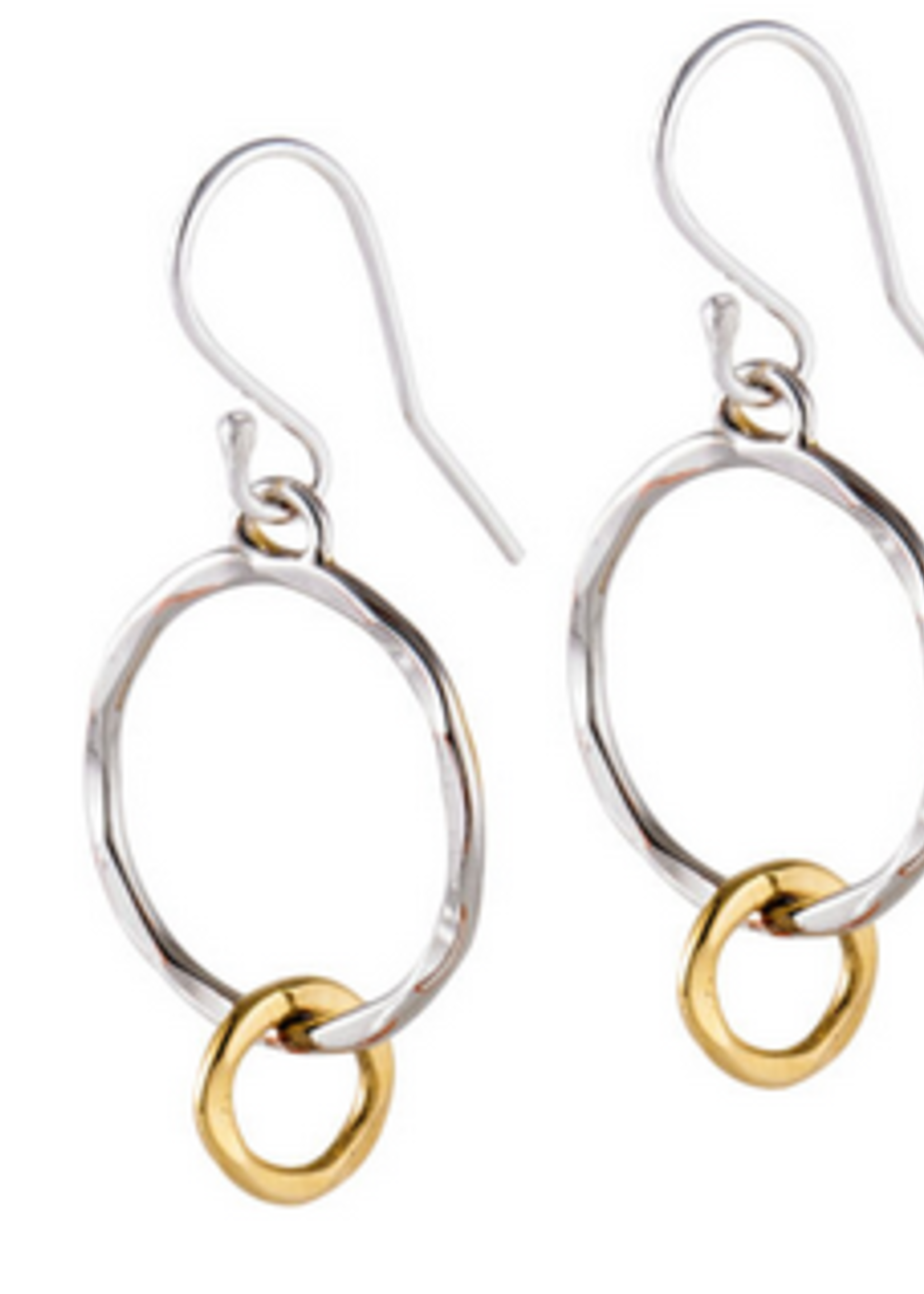 Earrings Silver Circle W/ Gold Plating