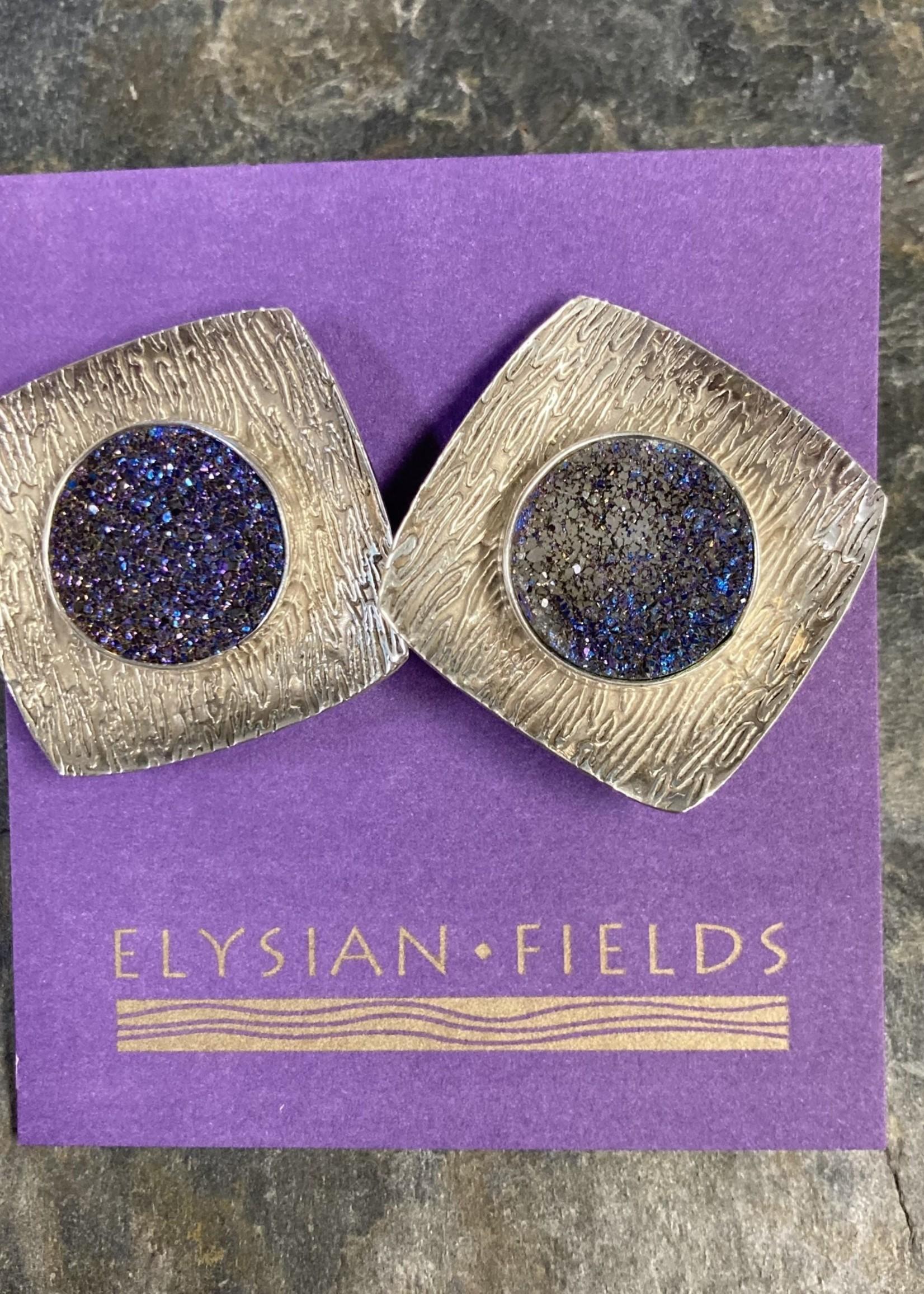 Earrings SS Round Titanium Druzy