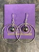 Earrings Hammered Hoop W/Pearl