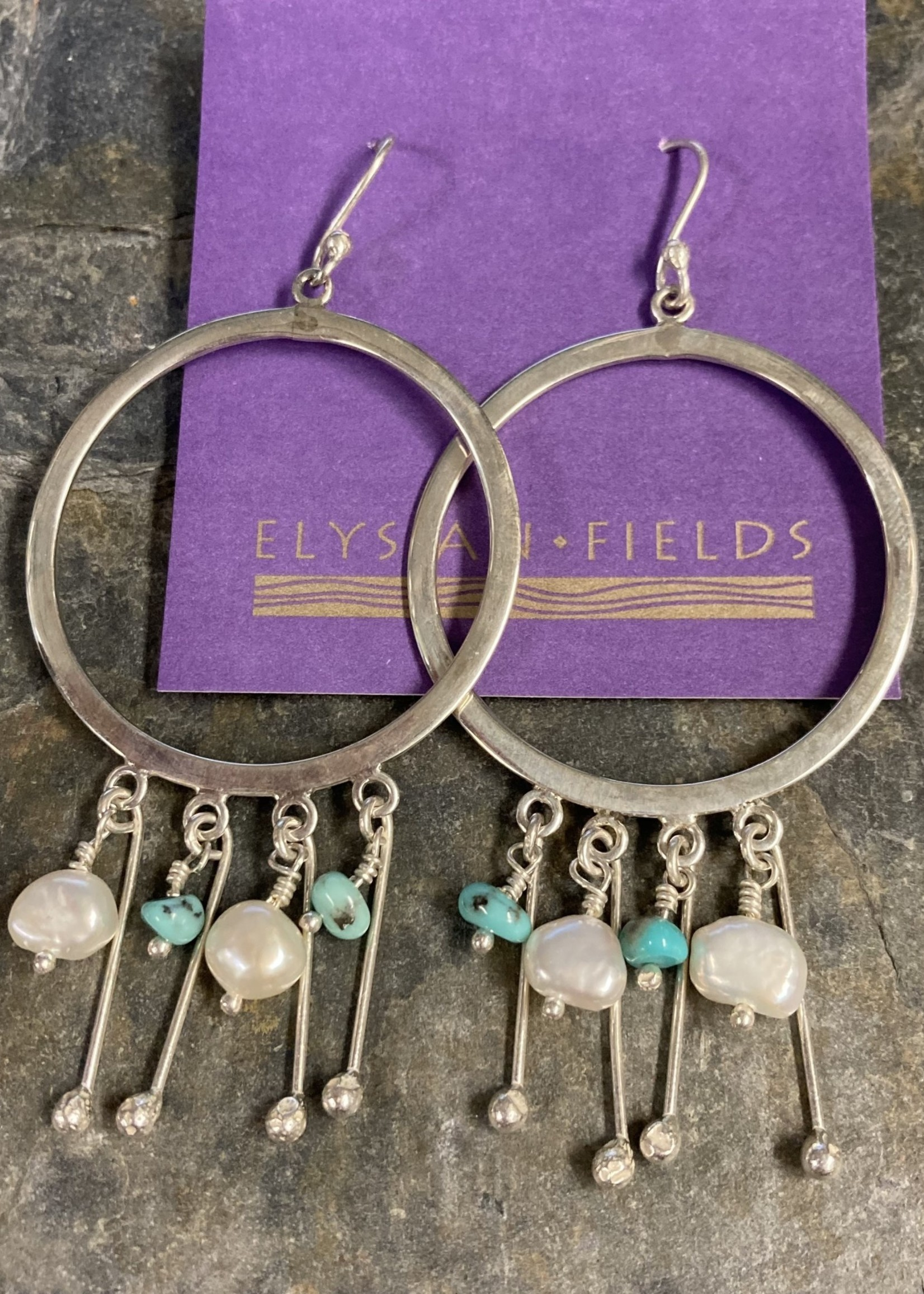 Earrings Silver Hoops With Turquoise And Pearl Beads