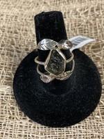 Ring Moldavite Leaves W/ Herkimer Diamond S 9