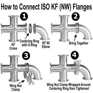 Goldleaf Scientific KF-40 4-Way Cross, Stainless Steel