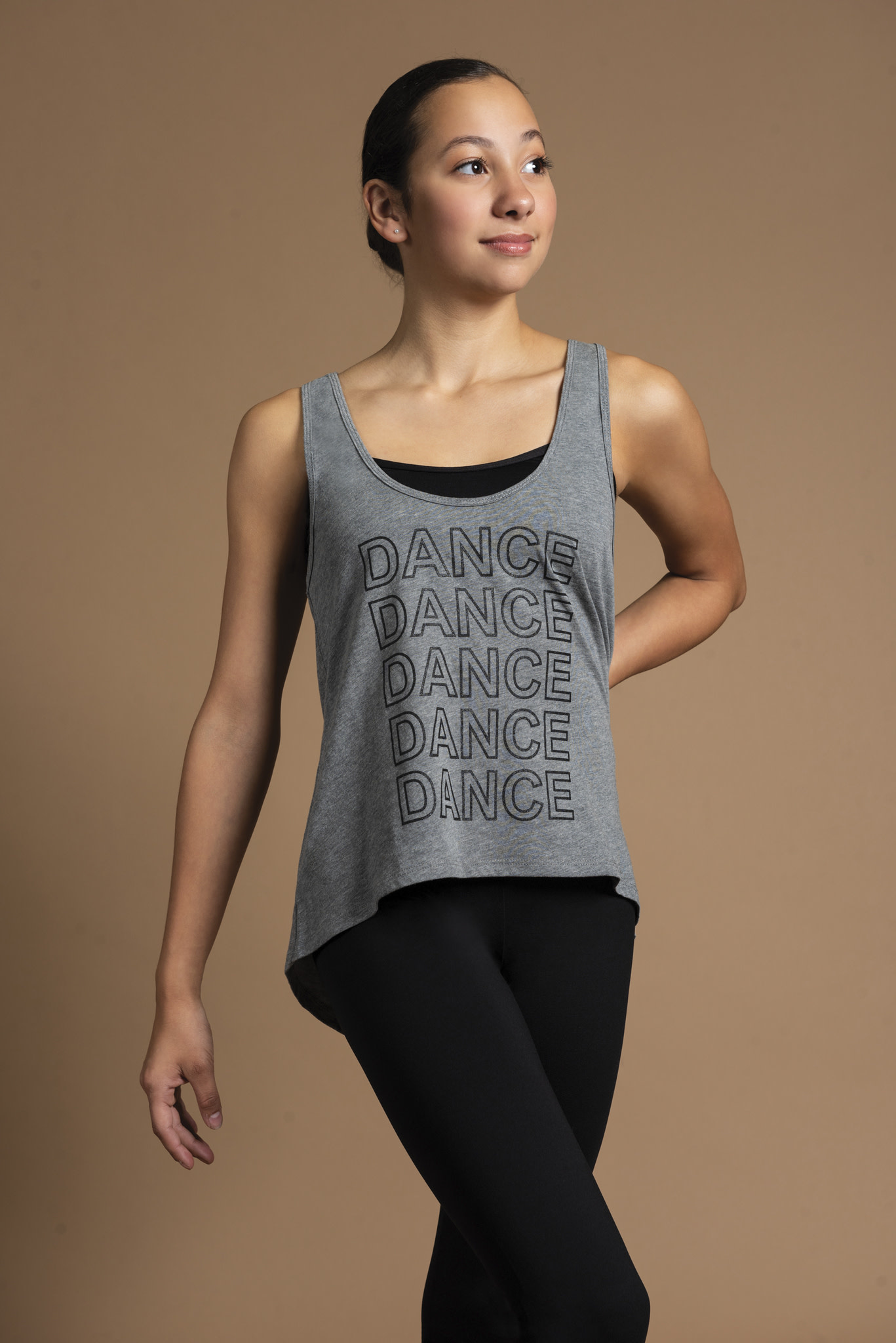 "Motionwear Camisole style ""High Low Tank"" Motionwear 5908, imprimé: ""DANCE"" au devant"