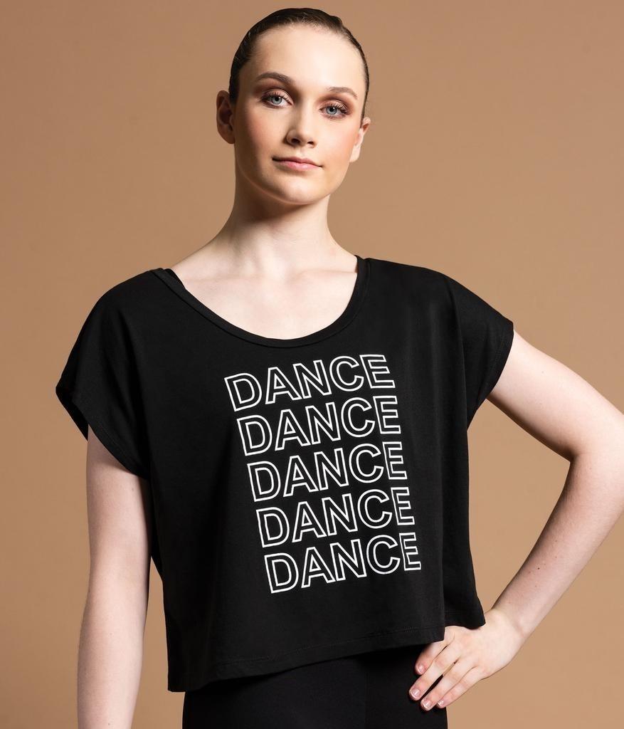 """Motionwear """"Crop Top"""" Manches courtes Motionwear 5108, imprimé: """"Dance"""" blanc au devant"""