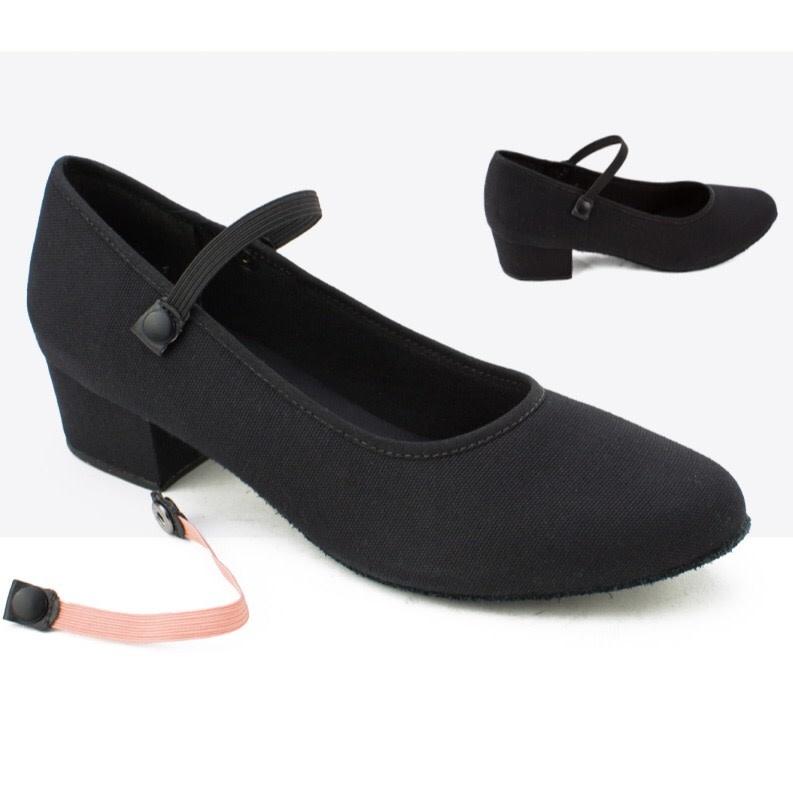 "So Danca Dance shoes So Danca RO-42L, Canvas 1.25"" Cuban heel, Suede Sole, Economic"