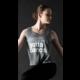 """Motionwear """"Boxy Tank"""" Motionwear 4901-017 gray, imprimé: """"Can't.  Gotta Dance."""" blanc au devant"""