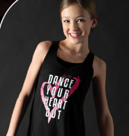 "Motionwear Camisole style ""Tank Top"" Motionwear 4078-017, imprimé: ""Dance Your Heart Out"" au devant"