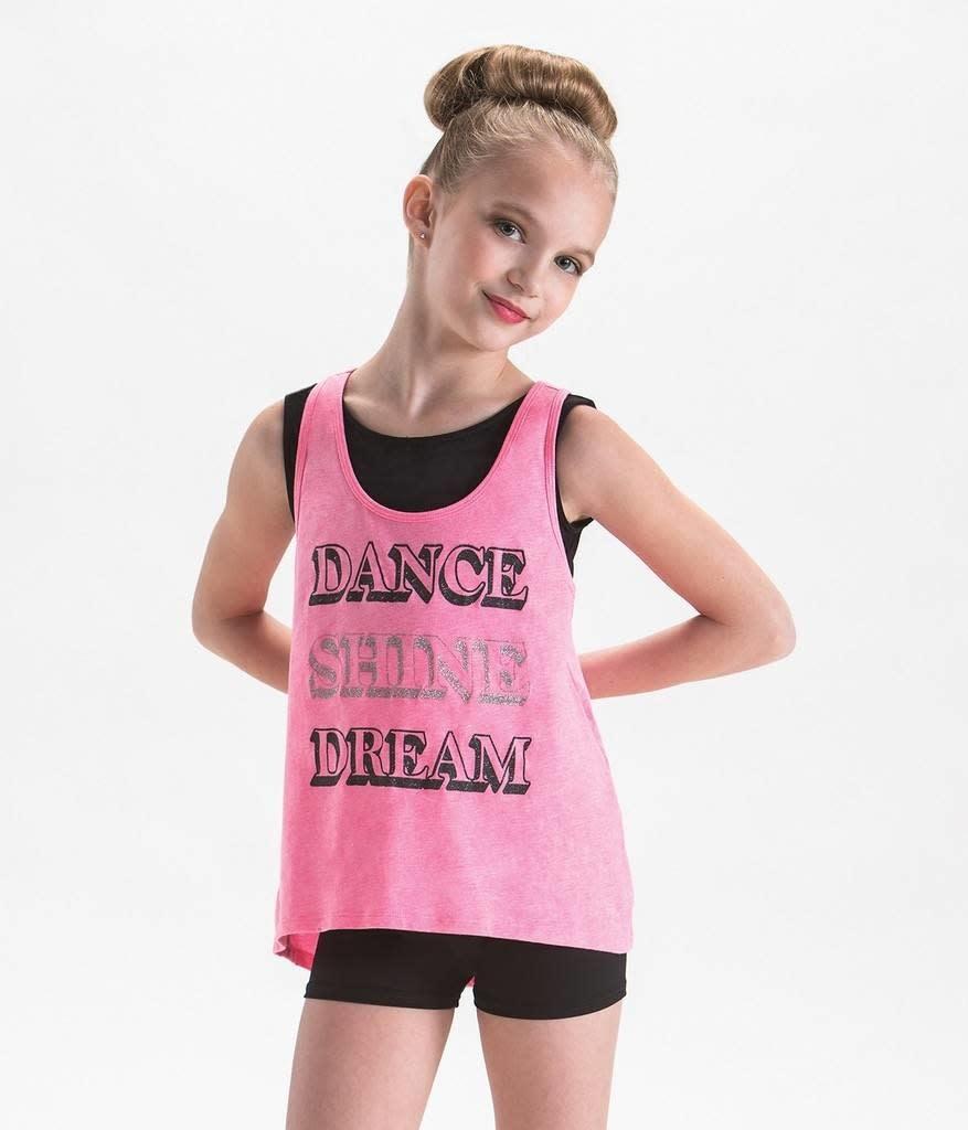"Motionwear Camisole style ""High Low Tank"" Motionwear 4748, imprimé: ""DANCE SHINE DREAM"" au devant"