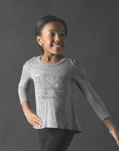 "Motionwear Chandail Manches 3/4 Motionwear 4926-017 GRAY, Style ""Cold Shoulder Top"", imprimé: ""Nutcracker Girls"" au devant"