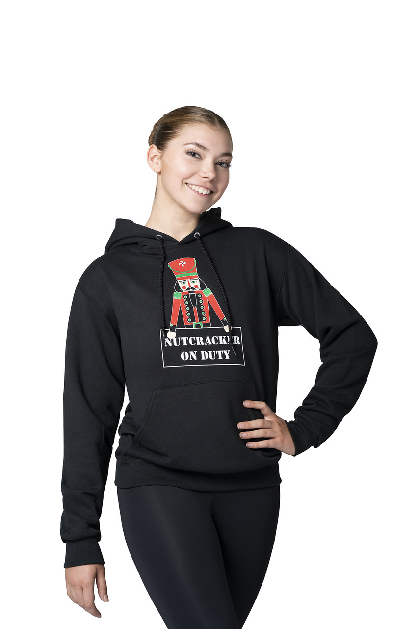 "Motionwear ""Hoodie"" Motionwear 4939-017 BLACK, imprimé: ""Nutcracker on duty"" au devant"