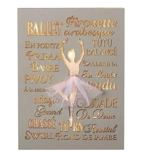 """Plaque décorative lumineuse, Roman 12212, Ballet gris et rose, Hauteur:  7.75""""po."""