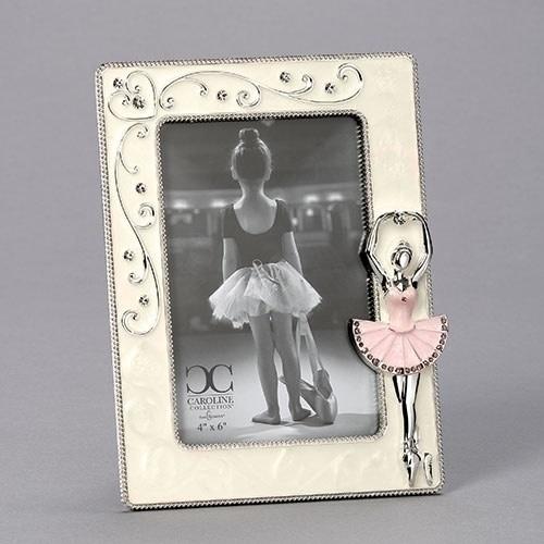 """Cadre photo 4x6 """"Ballet"""", Roman 19838, Ivoire et rose, Hauteur:  8.5po."""