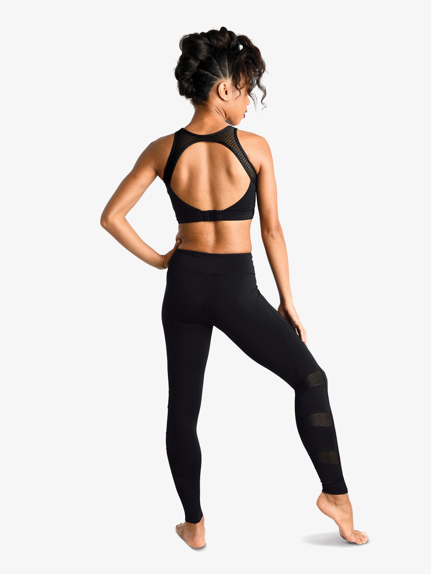 """DanzNmotion Legging Danshuz 19400A, Taille haute avec insertion de mesh """"block-shaped"""""""