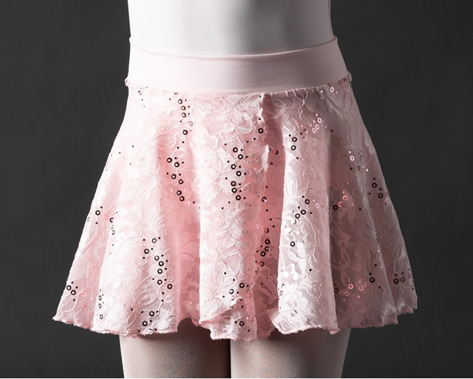 Motionwear Pull-On Sequins Sparkle Classic Floral Lace Skirt Motionwear 1011