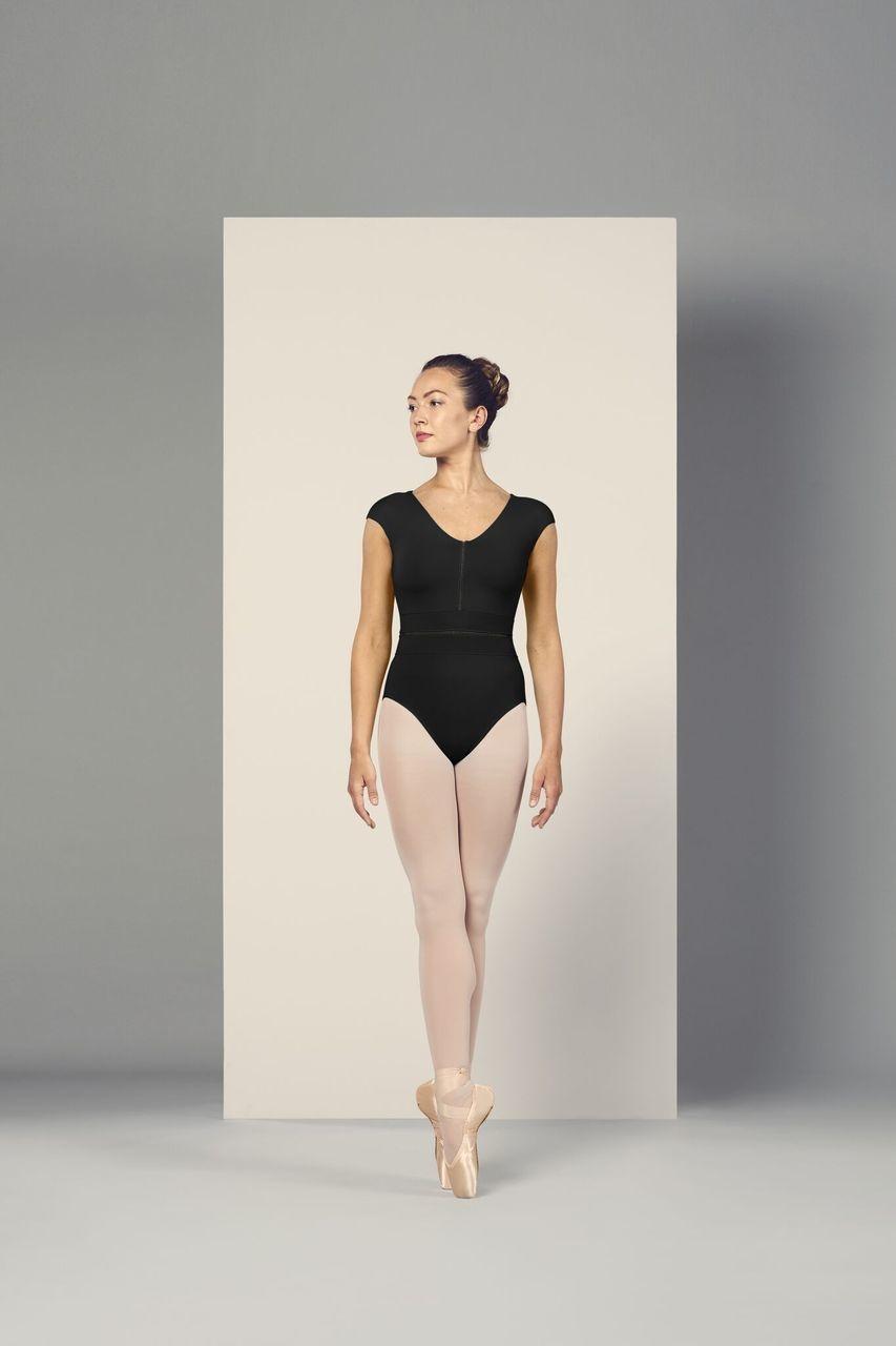 "Bloch Maillot Bloch L4942, Manches ""Cap sleeves"", Style ""V neckline Mesh Ladder Trim"""