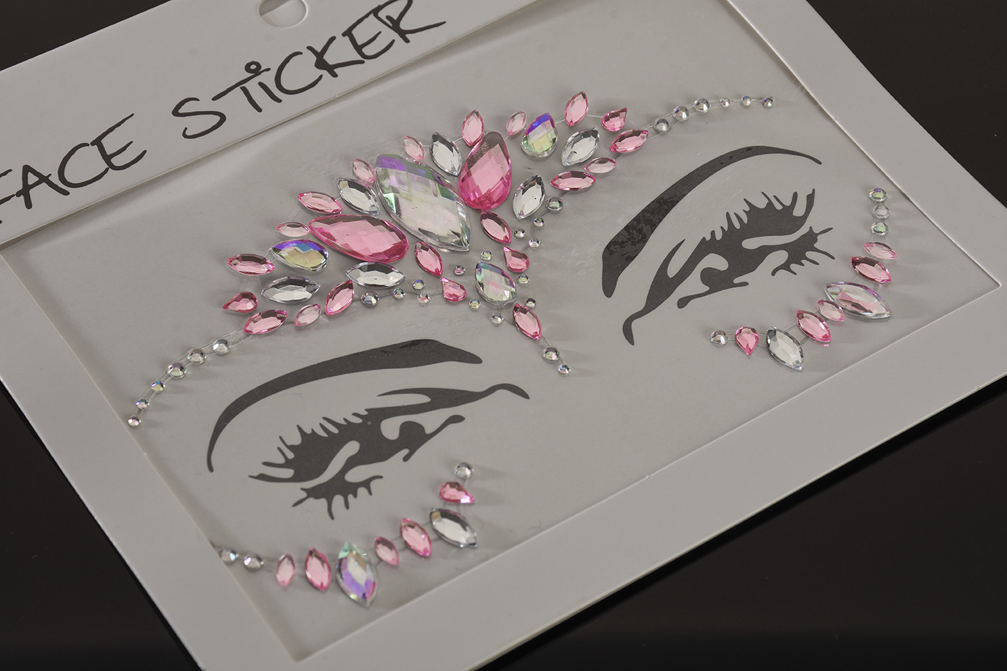 """FH2 """"Rhinestoned Face Jewels"""", FH2 FJS002, color: Pink"""