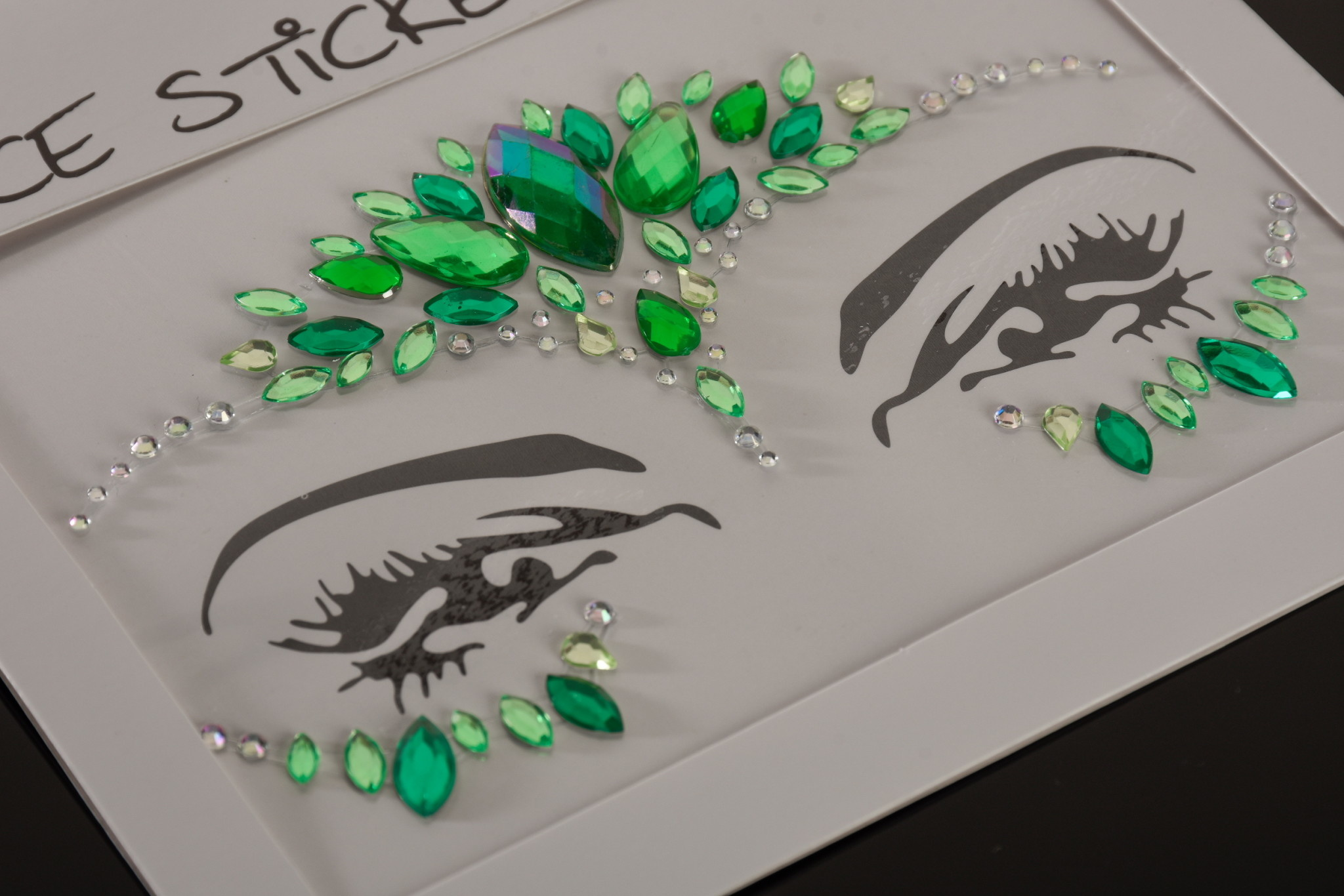 """FH2 """"Rhinestoned Face Jewels"""", FH2 FJS007, color: Green"""
