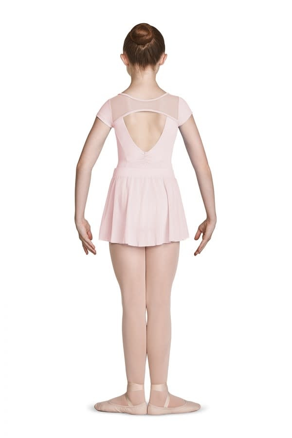Mirella High Neck Open Back Leotard Mirella M1530C, Cap Sleeve, with embroiled Mesh