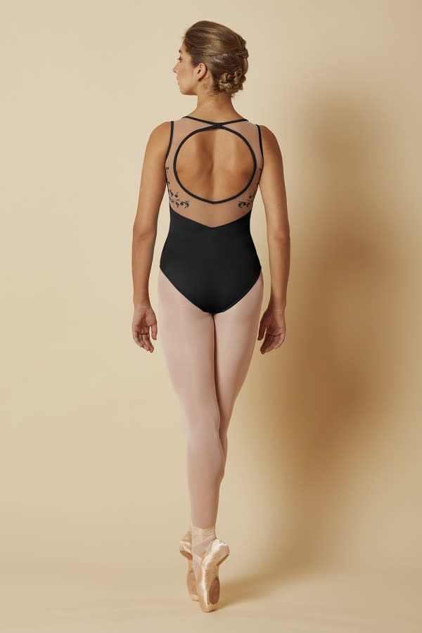 Mirella Scoop Neck Open Back Leotard Mirella M3085LM, Embroiled Mesh