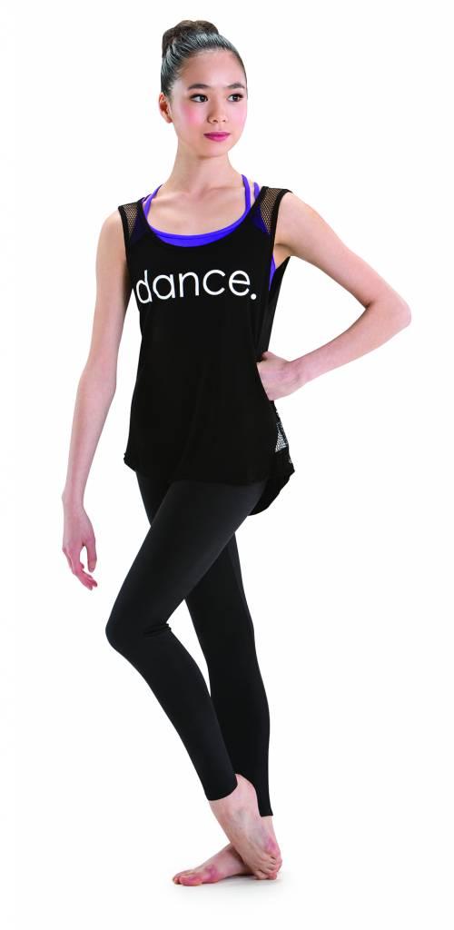 """Motionwear Camisole Motionwear 4763-017 BLK, Bretelles larges avec filet au dos, imprimé:"""" dance."""" blanc au devant"""
