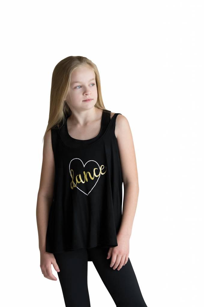 """Motionwear Camisole style """"Drape Tank"""" Motionwear 4504 -017 BLK, imprimé: """"dance"""" or au devant"""