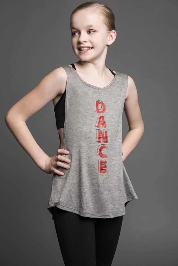 """Motionwear Camisole Motionwear 4277-017 Grey, Bretelles larges avec ouverture au dos, imprimé: """"DANCE"""" rouge au devant"""