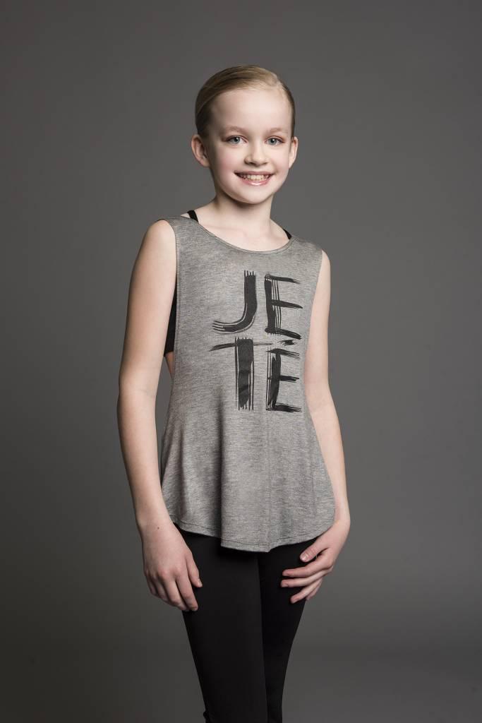 """Motionwear Camisole Motionwear 4389-017 Grey, Bretelles larges avec ouverture au dos, imprimé: """"JETÉ"""" noir au devant"""