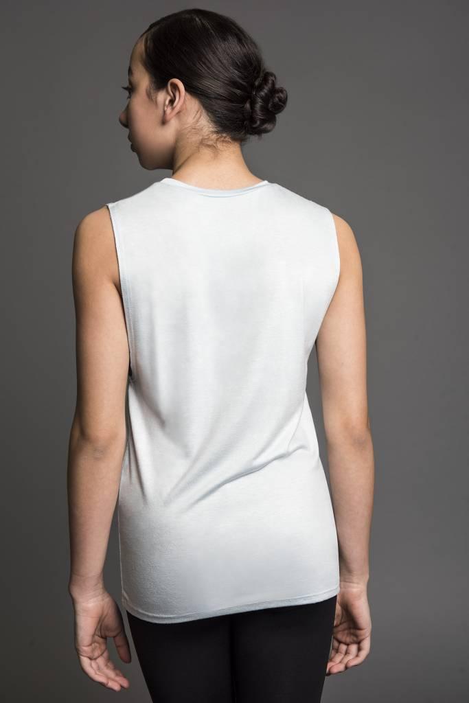 "Motionwear Camisole style ""Tank Top"" Motionwear 4286-017 Light Blue, imprimé: ""Okay let's DANCE"" au devant"