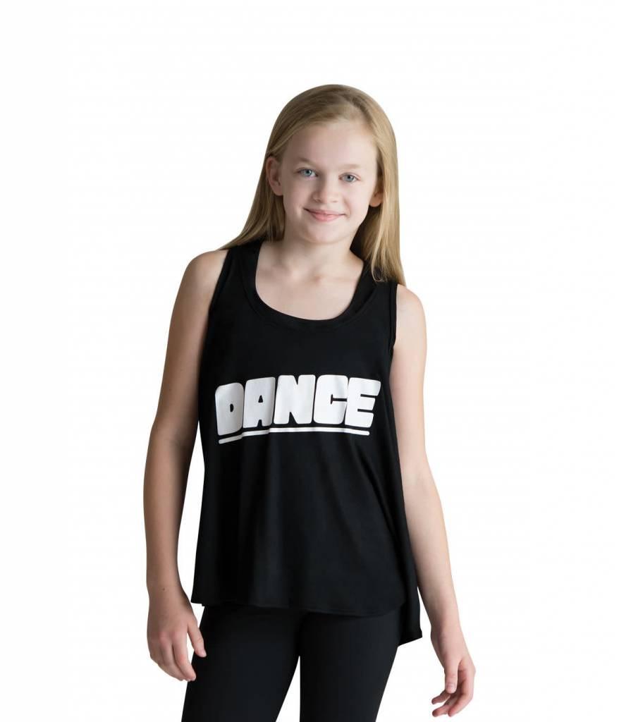 """Motionwear Camisole style """"Drape Tank"""" Motionwear 4505-017 BLK, imprimé: """"DANCE"""" blanc au devant"""