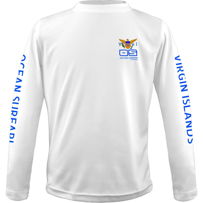 OS SPF 50+ Performance Youth LS VI Flag White