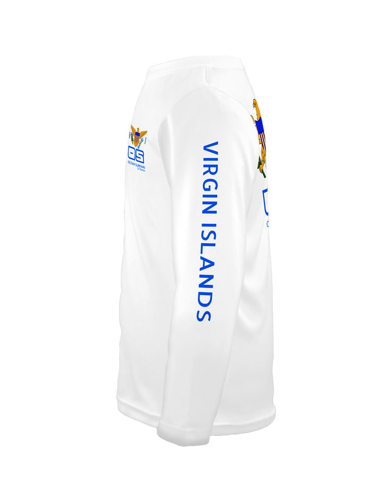 Ocean Surfari OS SPF 50+ Performance Youth LS VI Flag White