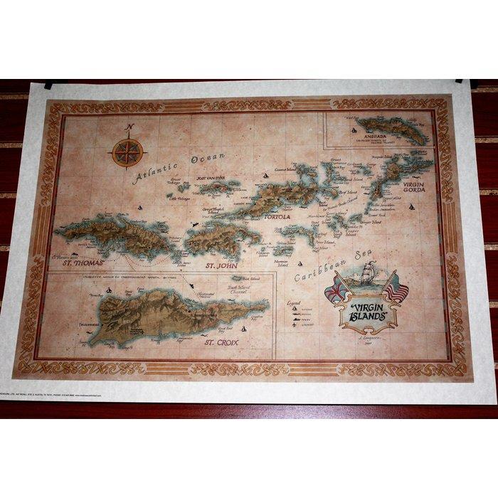 Virgin Islands Map 28 X 21
